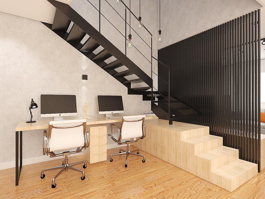 Sala/Home Office sob a escada