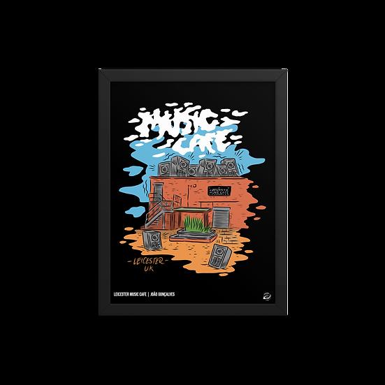 Framed Leicester Music Cafe Poster