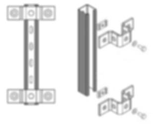 крепление страт профиля с использованием канальной гайки и скобы к стене