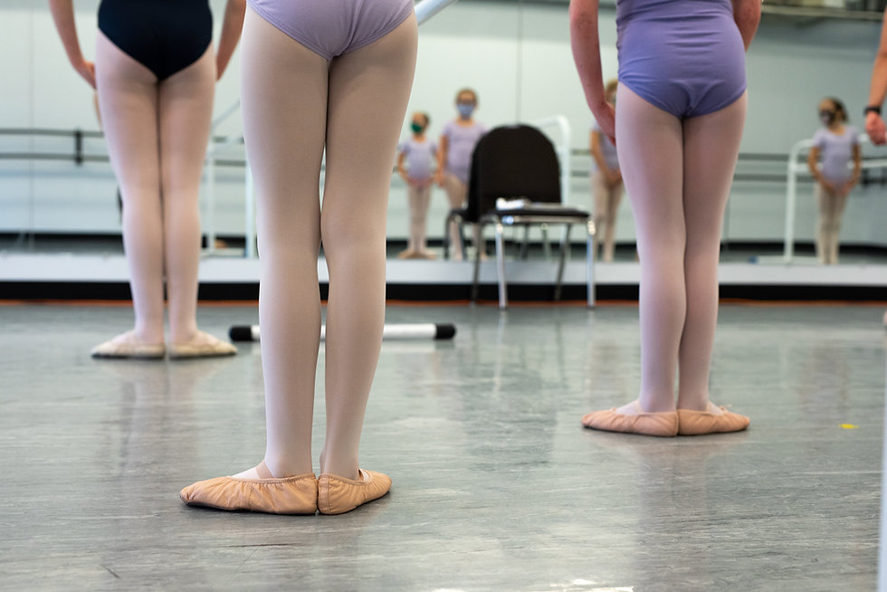 Three dancers seen from behind standing in first position facing the mirror