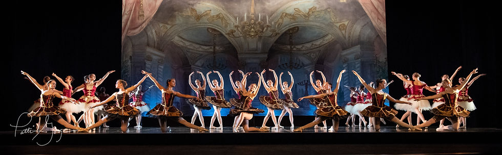 Panoramic image of pre-professional dancers in burgundy tutus and pointe shoes posed in the ballet's finale
