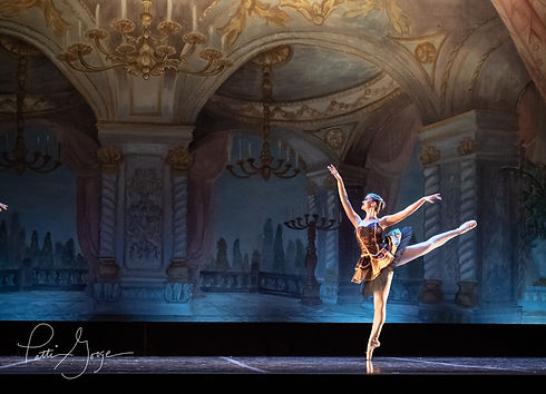 Dancer wearing a tutu on pointe in first arabesque on stage
