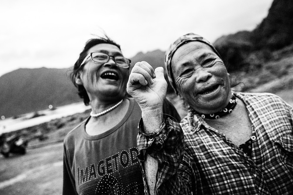 Black and white image of two Taiwanese ladies - by Havelock in Bristol