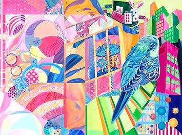 Fantasy Land 8, 2018, Acrylic, Paint marker on Canvas, 120cm x 150cm