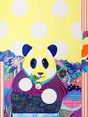 Blessing Bear 2, 2017, Acrylic, Paint marker on Canvas, 90cm x 120cm