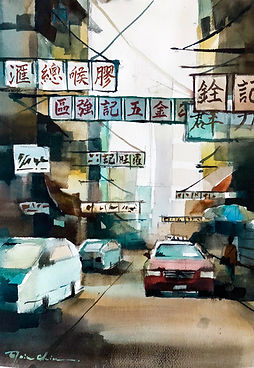 The Lights of Soy Street 豉油街, 2018, Watercolour on Paper, 38x28cm