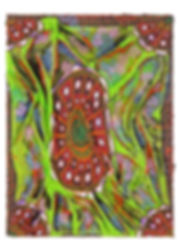 Hybridity #11, 2017, Acrylic, Epoxy Resin, Paint Pens, Gold Pigment, Cotton on Canvas, 80cm x 60cm