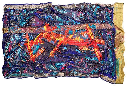 Hybridity #2, 2016. Acrylic, Silk, Epoxy resin, Paint pens, Gold pigment. 150cm x 93cm.