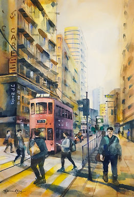 Johnston Road 莊士敦道, 2018, Watercolour on paper, 38x56cm