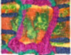 Hybridity #4, 2016. Acrylic, Silk, Epoxy resin, Paint pens, Gold pigment. 132cm x 106cm