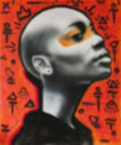 Domingo Mattle, God, 2017, Spray and Acrylic on Canvas, 100x120cm