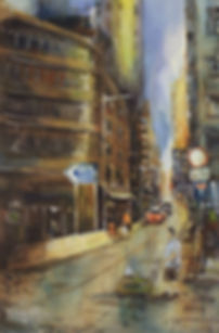 First Street 第一街, 2017, Watercolor on paper, 38x56cm