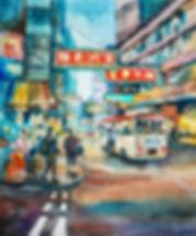 Neon City 霓虹之都, 2019, Watercolour on Canvas, 80x100cm
