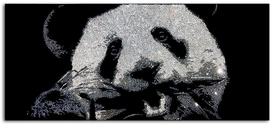 Little Panda, 2016, 10,200 Swarovski Crystals on Plexiglass, 30cm x 70cm