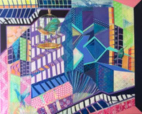 Sim City, 2017, Acrylic, Paint marker on Canvas, 120cm x 150cm