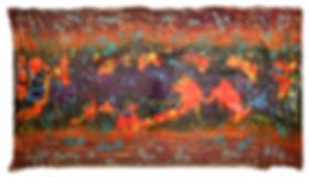 Hybridity #3, 2016. Acrylic, Silk, Epoxy resin, Paint pens, Gold pigment. 190cm x 103cm.
