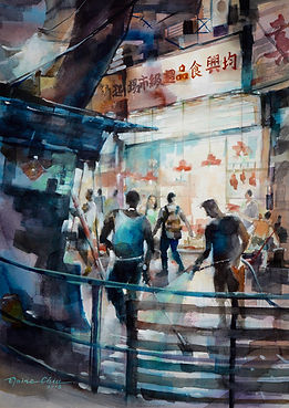 A Late Night Walk at the Wet Market, 2018, Watercolour on paper,  38x56cm