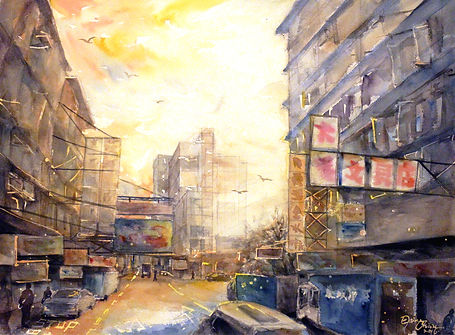 Collaging the City 拼貼城市, 2016, Watercolor on paper, 50cm x 70cm