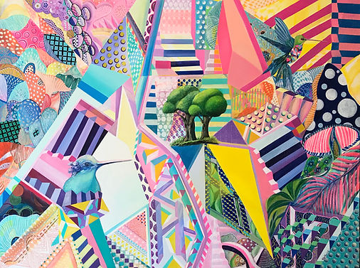 Fantasy Garden 2, 2018, Acrylic, Paint markers on Canvas, 90cm x 120cm