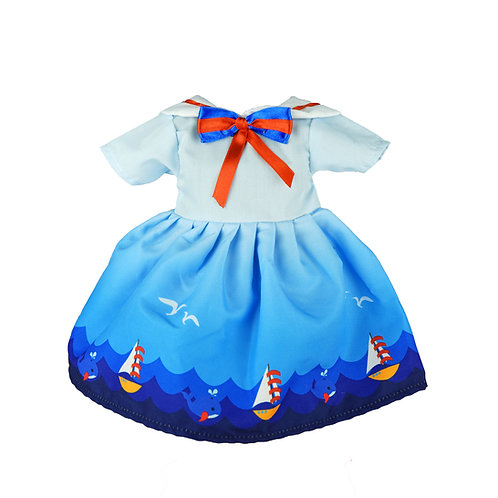 Vestito Azzurro con Decorazione Mare