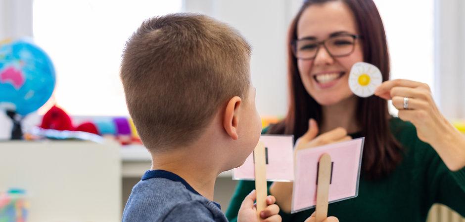 Children speech therapy concept. Prescho