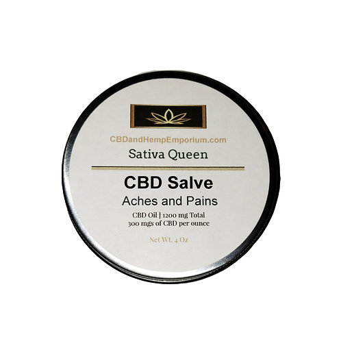 Sativa Queen Aches and Pains CBD Salve 2 oz 600 mg
