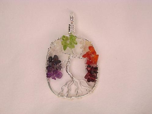 Chakra Tree of Life Pendant - Oval