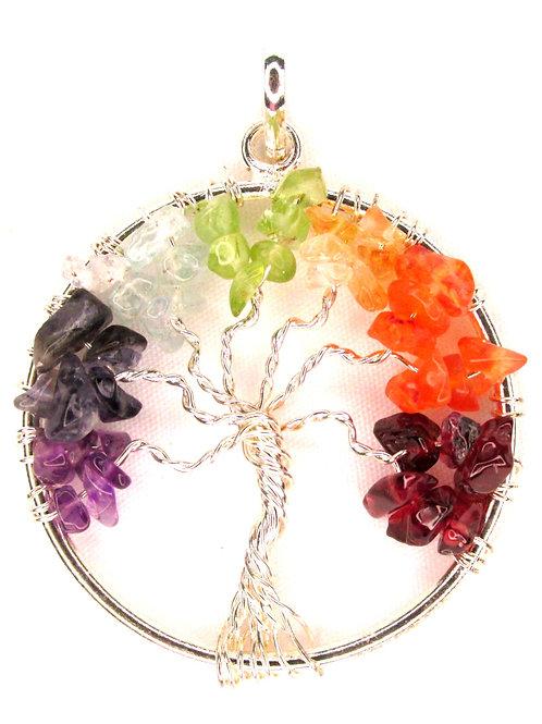 Tree of Life Chakra Pendant - Round SS plate