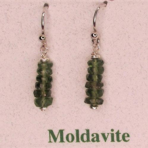 Moldavite Drop Down Bead Earrings