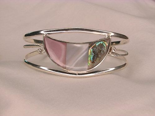 Tri Shell Cuff Bracelet - Half Moon