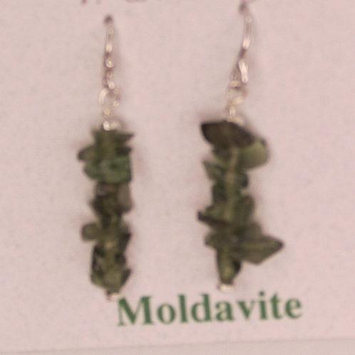 Moldavite Dropdown Chip Earrings