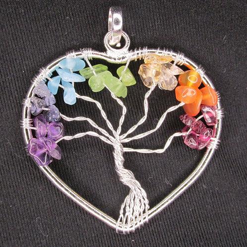 Tree of Life Chakra Chip Pendant - Heart Shape  SS plate