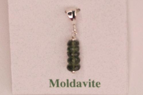 Moldavite  Drop Down Bead Pendant