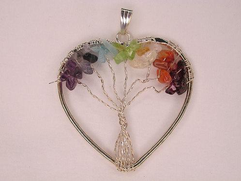 Tree of Life Chakra Chip Pendant  YG Plate