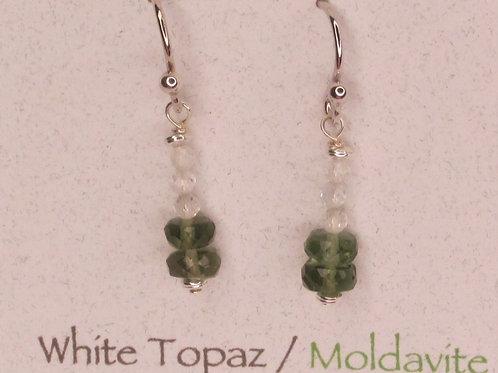 Moldavite and White Topaz Drop down Earrings