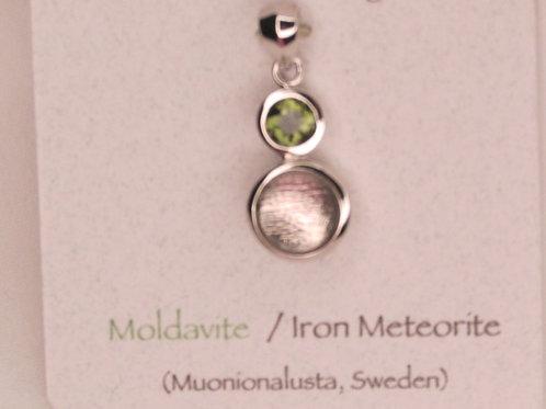 Moldative and Iron Meteorite Pendant