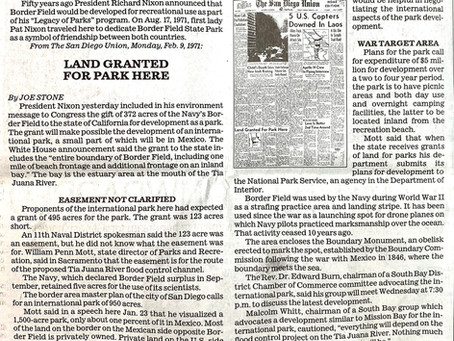 "An International Park part of Nixon's ""Legacy of Parks"" Environmental Plan"