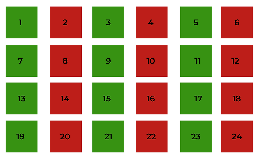 DIY green and right advent calendar