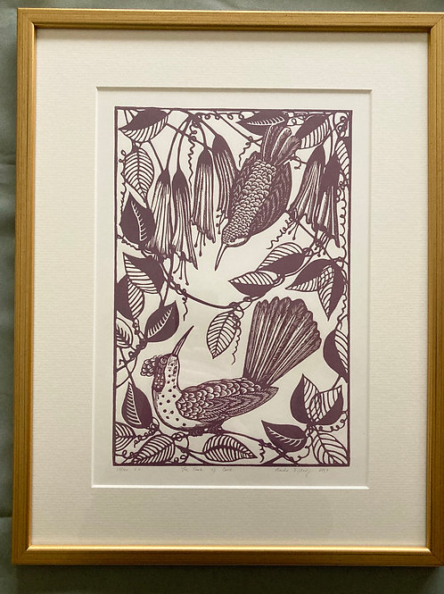 """The look of love"" framed linocut"