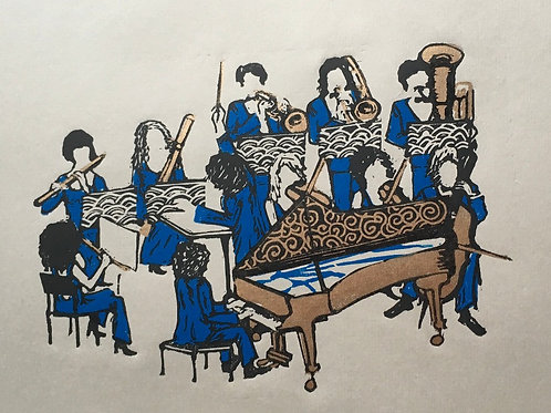 The orchestra (gold and blue)
