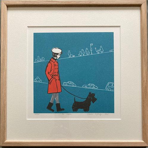 """The walk"" framed linocut"