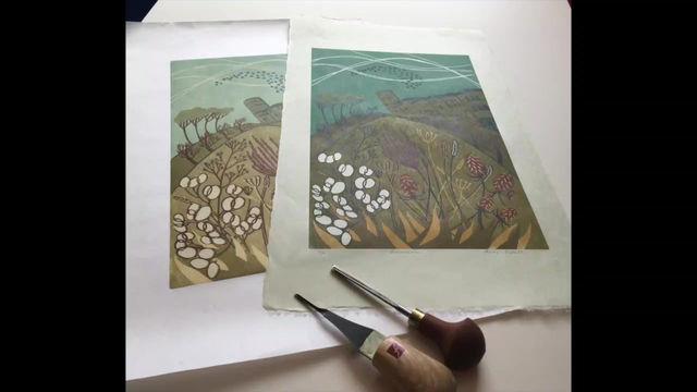 "The making of 10-colour reductive linocut ""Murmuration"""