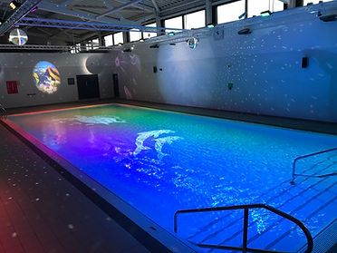 Picture of SDSG's Aqua-sensory lighting in action at Scarborough Sports Village