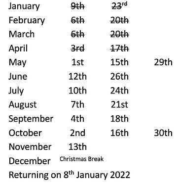 Picture of SDSG's 2021 swim dates