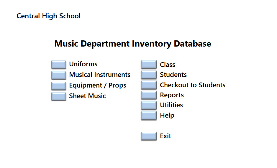 Music Dept Inventory Menu