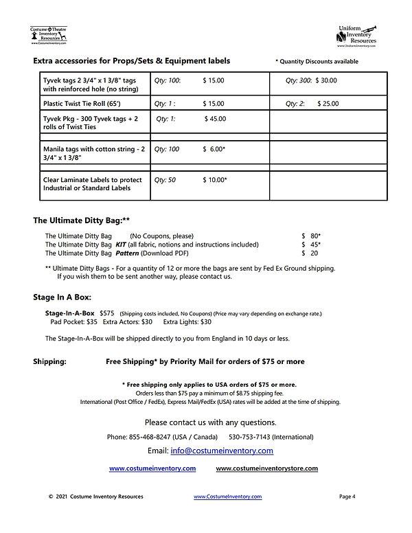 Price List - Costume Inventory Resources