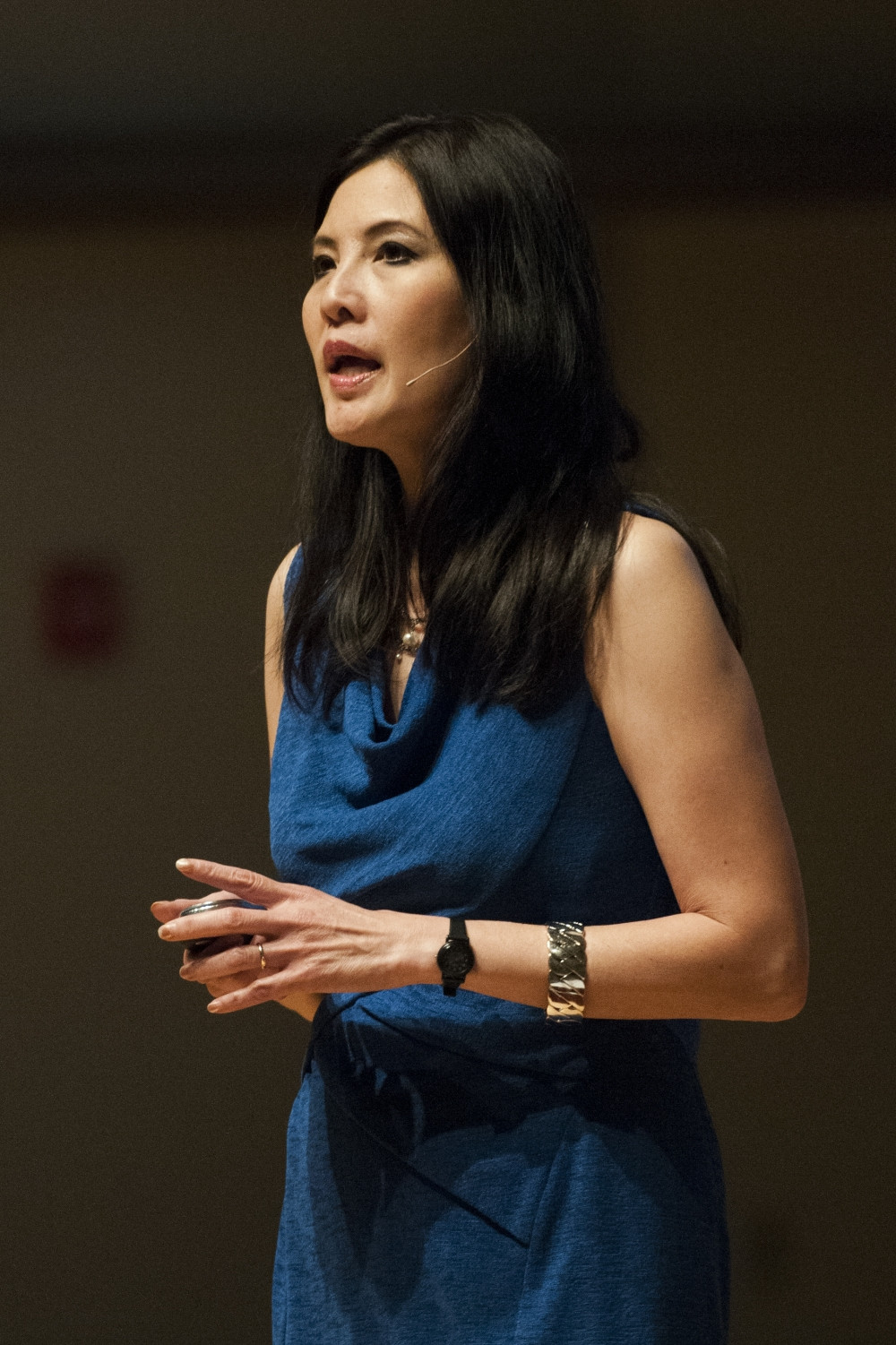 """Sheryl WuDunn encouraged volunteerism and community activism at her talk on Monday at Pruis Hall. WuDann is the author of """"Half the Sky"""" and """"A Path Appears"""" and won the Pulitzer Prize while working in Beijing for the New York Times. DN PHOTO JONATHAN MIKSANEK"""