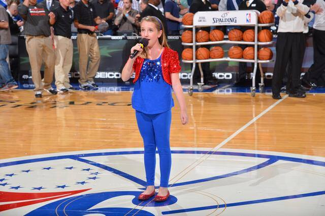 Nadia singing the Anthem