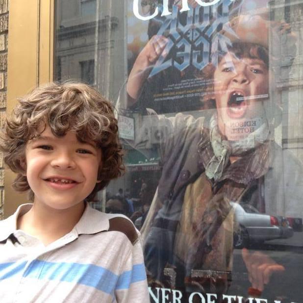 Gaten with his Les Miz poster