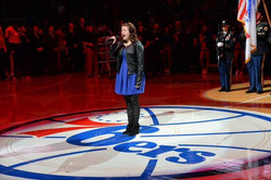 Sabrina singing the Anthem